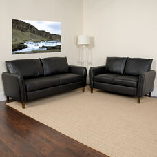 Milton Park Upholstered Plush Pillow Back Loveseat and Sofa Set in Black LeatherSoft