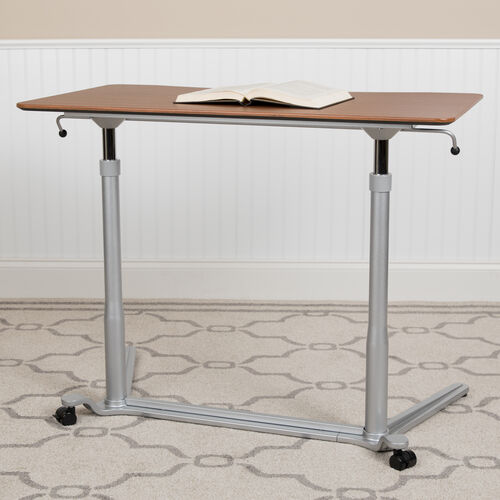 "Sit-Down, Stand-Up Cherry Computer Ergonomic Desk with 37.375""W Top (Adjustable Range 29"" - 40.75"")"