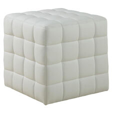 Contemporary Tufted Faux Leather Cushioned Ottoman - White