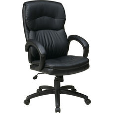 Work Smart Executive High Back Eco Leather Chair with Padded Arms and Casters - Black