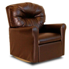 Kids Faux Leather Contemporary Rocker Recliner with Tufted Back - Pecan Brown