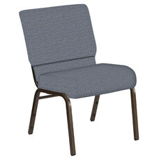 Embroidered 21''W Church Chair in Mirage Sky Fabric - Gold Vein Frame