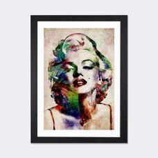 Watercolor Marilyn Monroe by Michael Tompsett Artwork on Fine Art Paper with Black Matte Hardwood Frame - 16