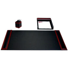 Wood and Leather 3 Piece Desk Set - Rosewood and Black
