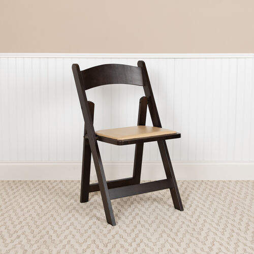Our HERCULES Series Chocolate Wood Folding Chair with Vinyl Padded Seat is on sale now.