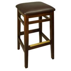 Trevor Walnut Wood Backless Barstool - Dark Brown Vinyl Seat