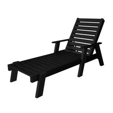 POLYWOOD® Captain Collection Chaise Lounge w/ Arms - Black