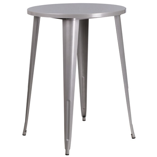 "Our Commercial Grade 30"" Round Silver Metal Indoor-Outdoor Bar Height Table is on sale now."