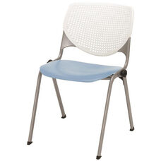 2300 KOOL Series Stacking Poly Armless Chair with White Perforated Back and Sky Blue Seat