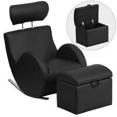 HERCULES Series Black Vinyl Rocking Chair with Storage Ottoman