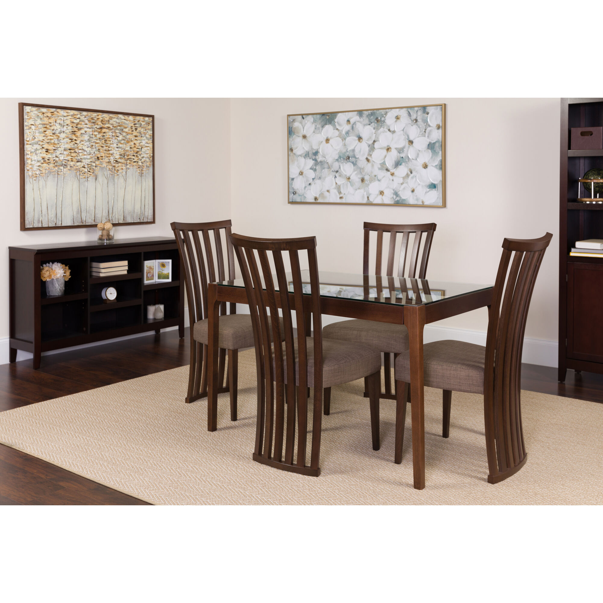 Our oakdale 5 piece espresso wood dining table set with glass top and dramatic rail back
