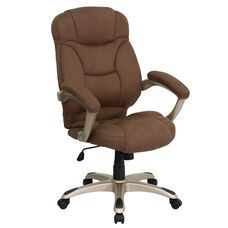 High Back Brown Microfiber Contemporary Executive Swivel Ergonomic Office Chair with Arms
