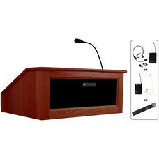 Solid Hardwood Victoria Wireless 150 Watt Sound and Hand Held Mic Tabletop Lectern - Mahogany Finish - 27