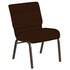 Embroidered 21''W Church Chair in Old World Rustic Brown Fabric - Gold Vein Frame
