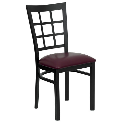 Our Black Window Back Metal Restaurant Chair with Burgundy Vinyl Seat is on sale now.