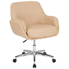 Rochelle Home and Office Upholstered Mid-Back Chair in Beige Fabric