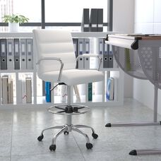 Mid-Back White LeatherSoft Drafting Chair with Adjustable Foot Ring and Chrome Base