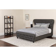 Cartelana Tufted Upholstered Twin Size Platform Bed with in Dark Gray Fabric and Silver Accent Nail Trim with Pocket Spring Mattress