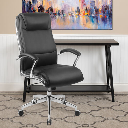 High Back Designer Smooth Upholstered Executive Swivel Office Chair with Chrome Base and Arms