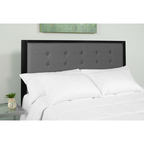 Our Bristol Metal Tufted Upholstered King Size Headboard in Dark Gray Fabric is on sale now.