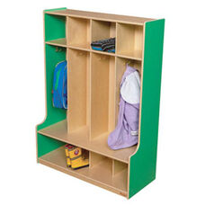 Green Apple 4-Section Seat Locker with Two Coat Hooks in Each Section - Assembled - 36
