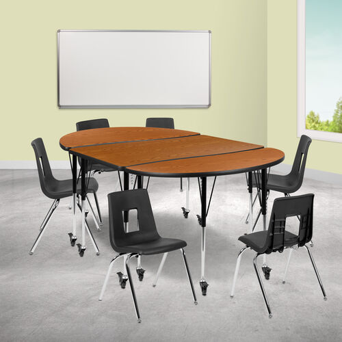 "Our Mobile 76"" Oval Wave Collaborative Laminate Activity Table Set with 18"" Student Stack Chairs, Oak/Black is on sale now."