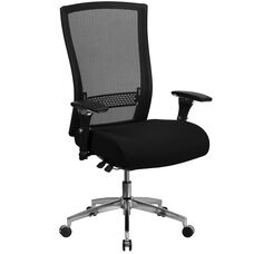 HERCULES Series 24/7 Intensive Use 300 lb. Rated Black Mesh Multifunction Executive Swivel Chair with Seat Slider