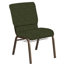 Embroidered 18.5''W Church Chair in Jasmine Fern Fabric with Book Rack - Gold Vein Frame