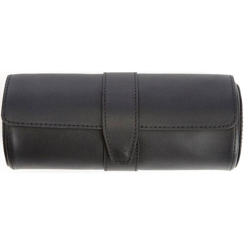 Our Travel Watch Roll and Cufflink Storage with Rich Suede Lining - Top Grain Nappa Leather - Black is on sale now.