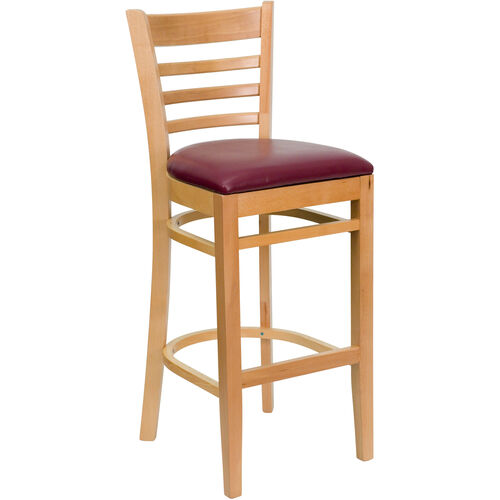 Our Natural Wood Finished Ladder Back Wooden Restaurant Barstool with Burgundy Vinyl Seat is on sale now.