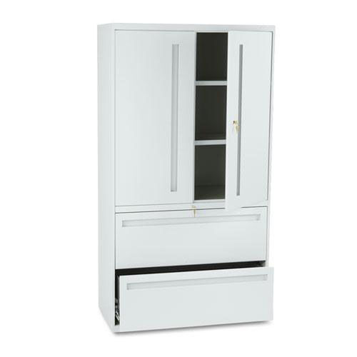 Our HON® 700 Series Lateral File w/Storage Cabinet - 36w x 19-1/4d - Light Gray is on sale now.