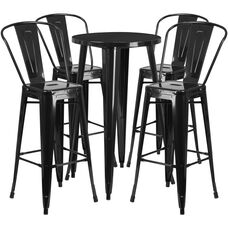 """Commercial Grade 24"""" Round Black Metal Indoor-Outdoor Bar Table Set with 4 Cafe Stools"""