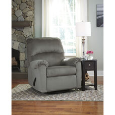 Signature Design by Ashley Bronwyn Swivel Glider Recliner in Alloy Fabric