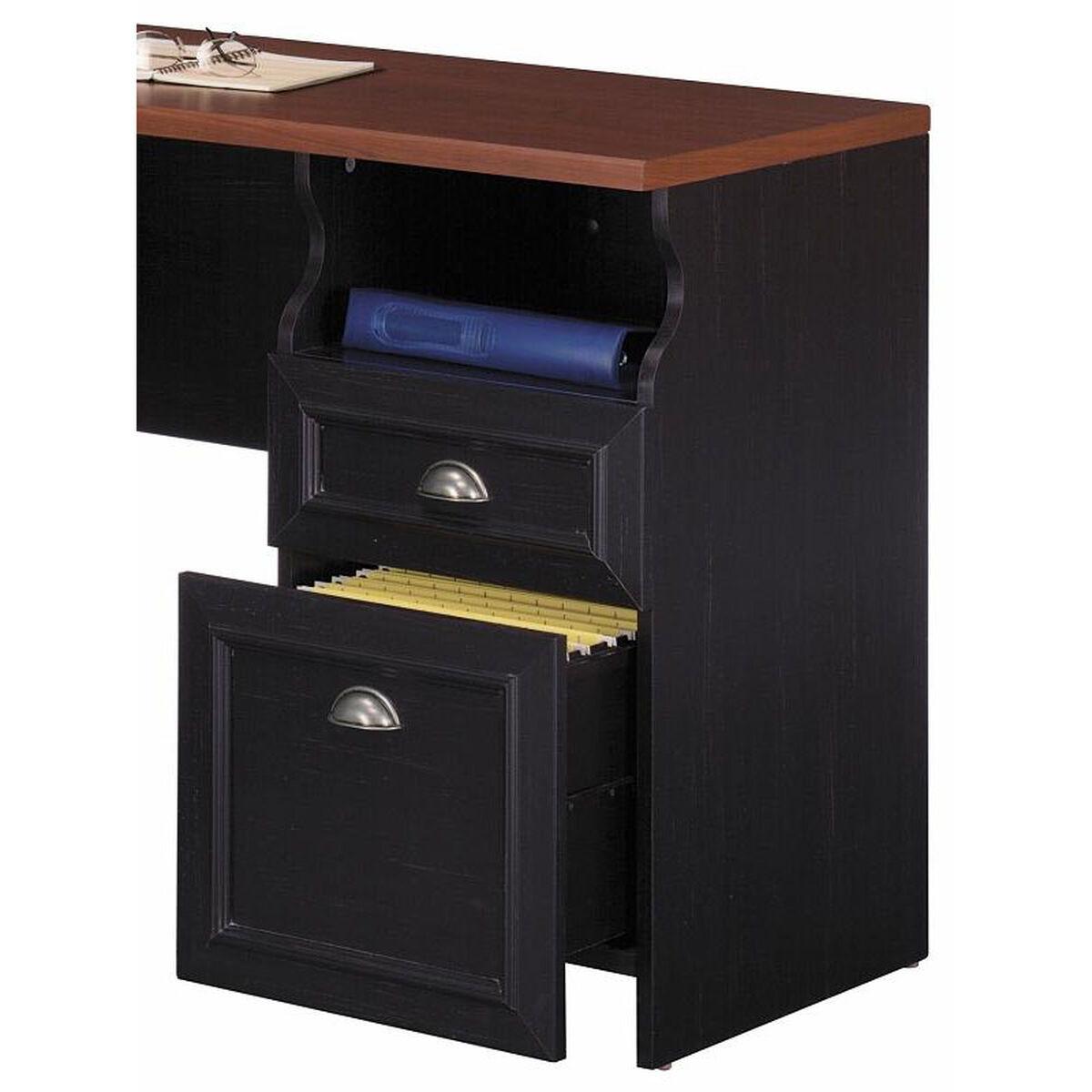 Fairview L Shaped Computer Desk Black Inset 2