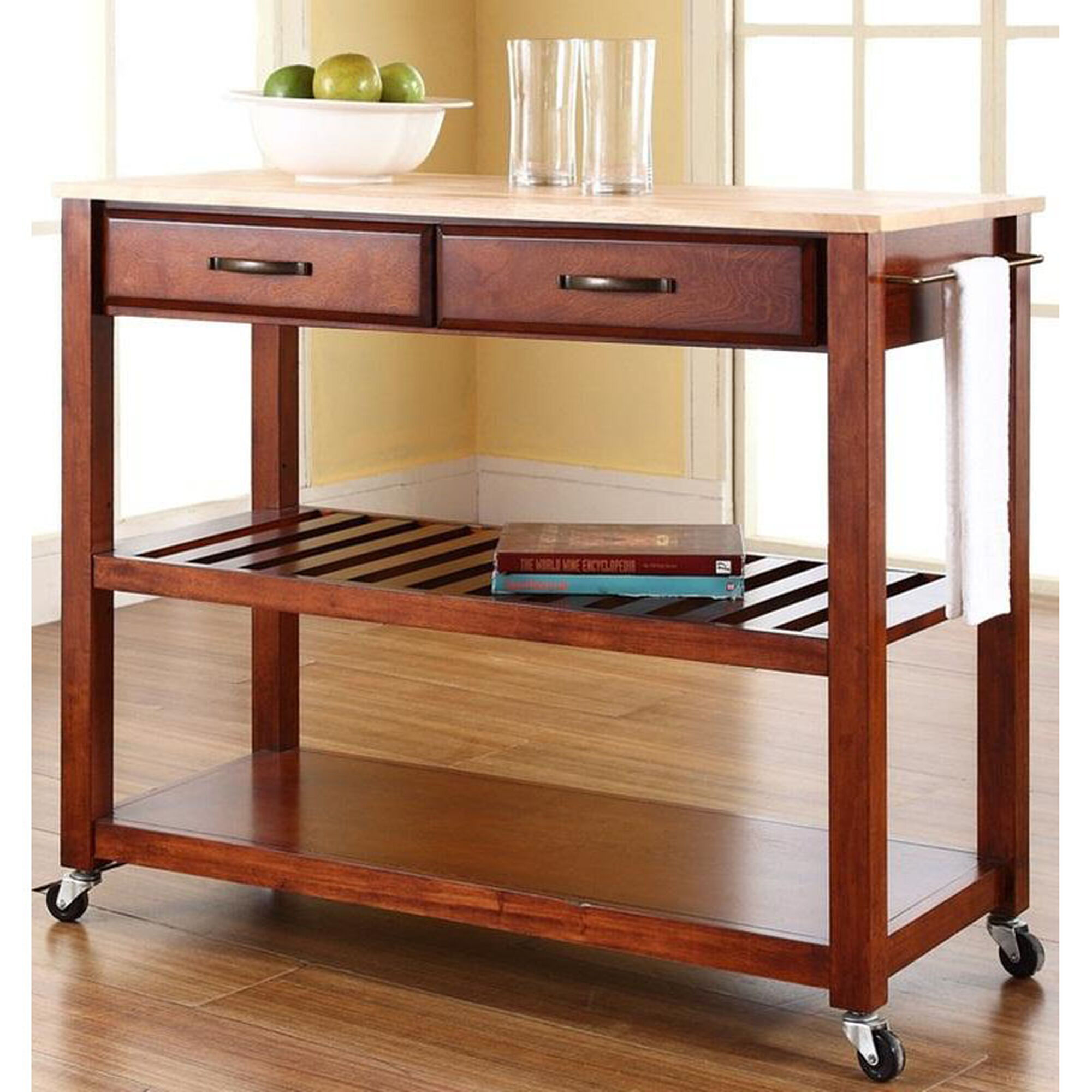 Crosley Natural Wood Top Kitchen Island Cart Maple And