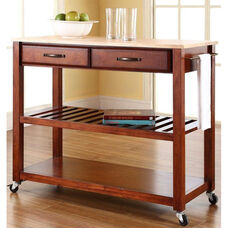 Natural Wood Top Kitchen Island Cart - Maple and Classic Cherry Finish