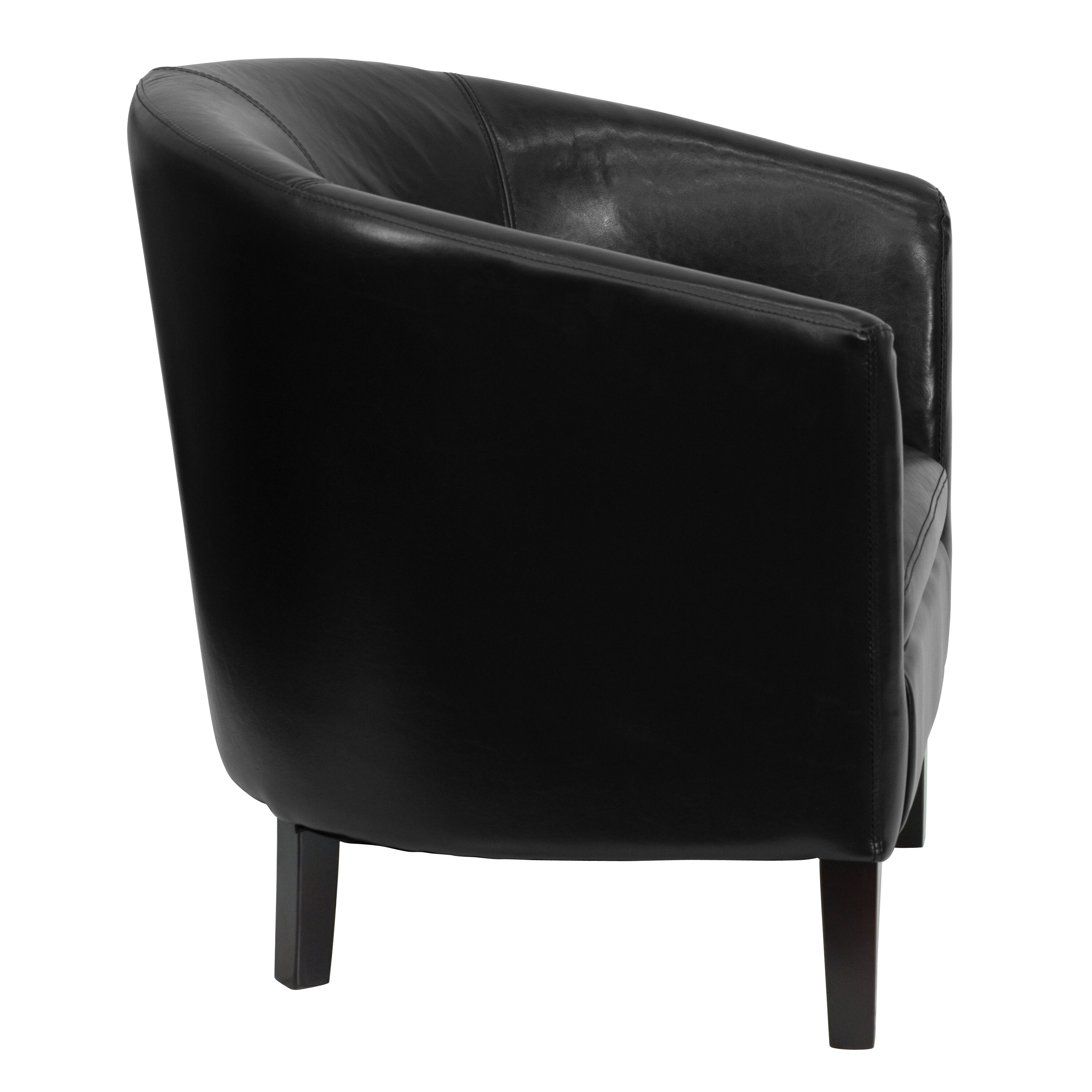 Our Black Leather Barrel Shaped Guest Chair Is On Sale Now.