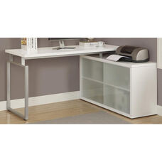 L-Shaped Left or Right Facing Home Office Desk with Frosted Glass Storage Doors - White