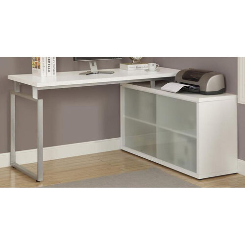 Our L-Shaped Left or Right Facing Home Office Desk with Frosted Glass Storage Doors - White is on sale now.