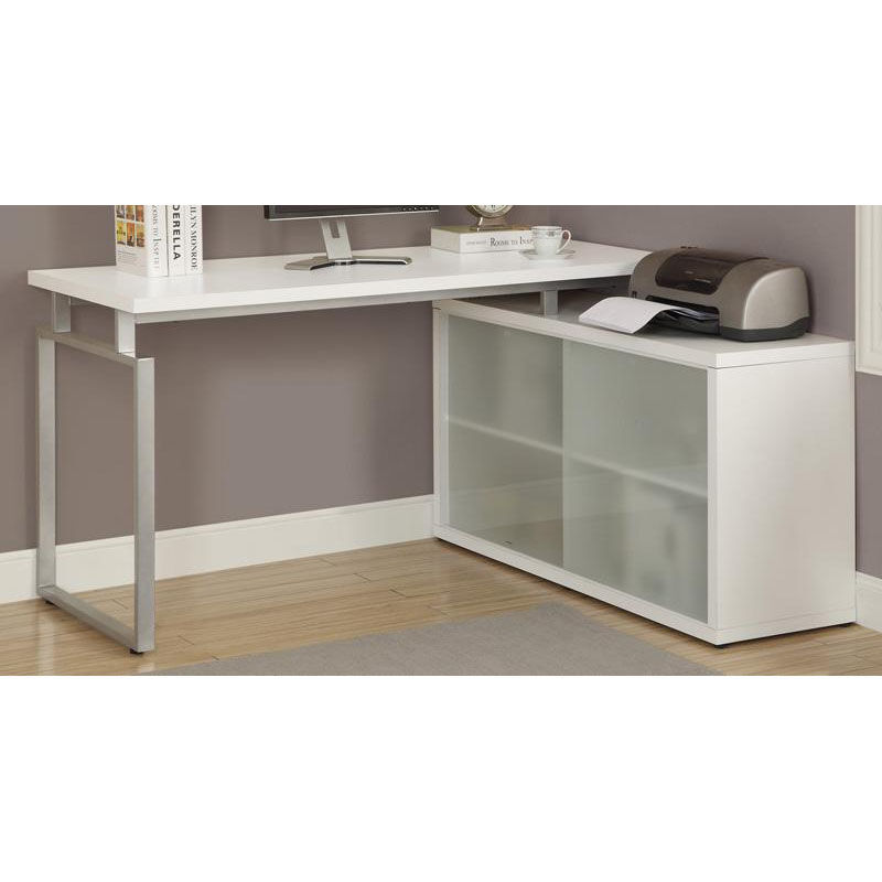 ... Our L Shaped Left Or Right Facing Home Office Desk With Frosted Glass  Storage Doors