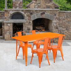 "Commercial Grade 31.5"" x 63"" Rectangular Orange Metal Indoor-Outdoor Table Set with 4 Stack Chairs"