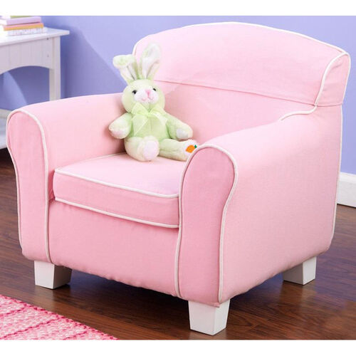 Kids Size Laguna Arm Chair with Contrast Piping and Slip Cover - Pink