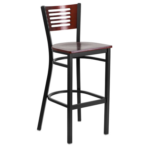 Our Black Decorative Slat Back Metal Restaurant Barstool with Mahogany Wood Back & Seat is on sale now.