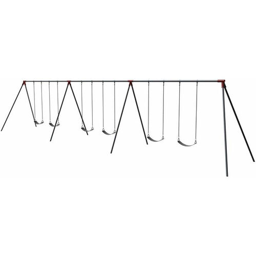 Six Seat Primary Bipod Swing Set with Galvanized Swing Chains and Thirteen Gauge Steel Frame - 120