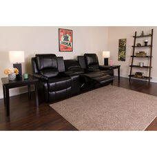 Allure Series 3-Seat Reclining Pillow Back Black LeatherSoft Theater Seating Unit with Cup Holders