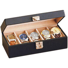Deluxe 5 Watch Box - Top Grain Nappa Leather - Black