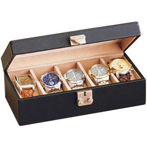 Our Deluxe 5 Watch Box - Top Grain Nappa Leather - Black is on sale now.