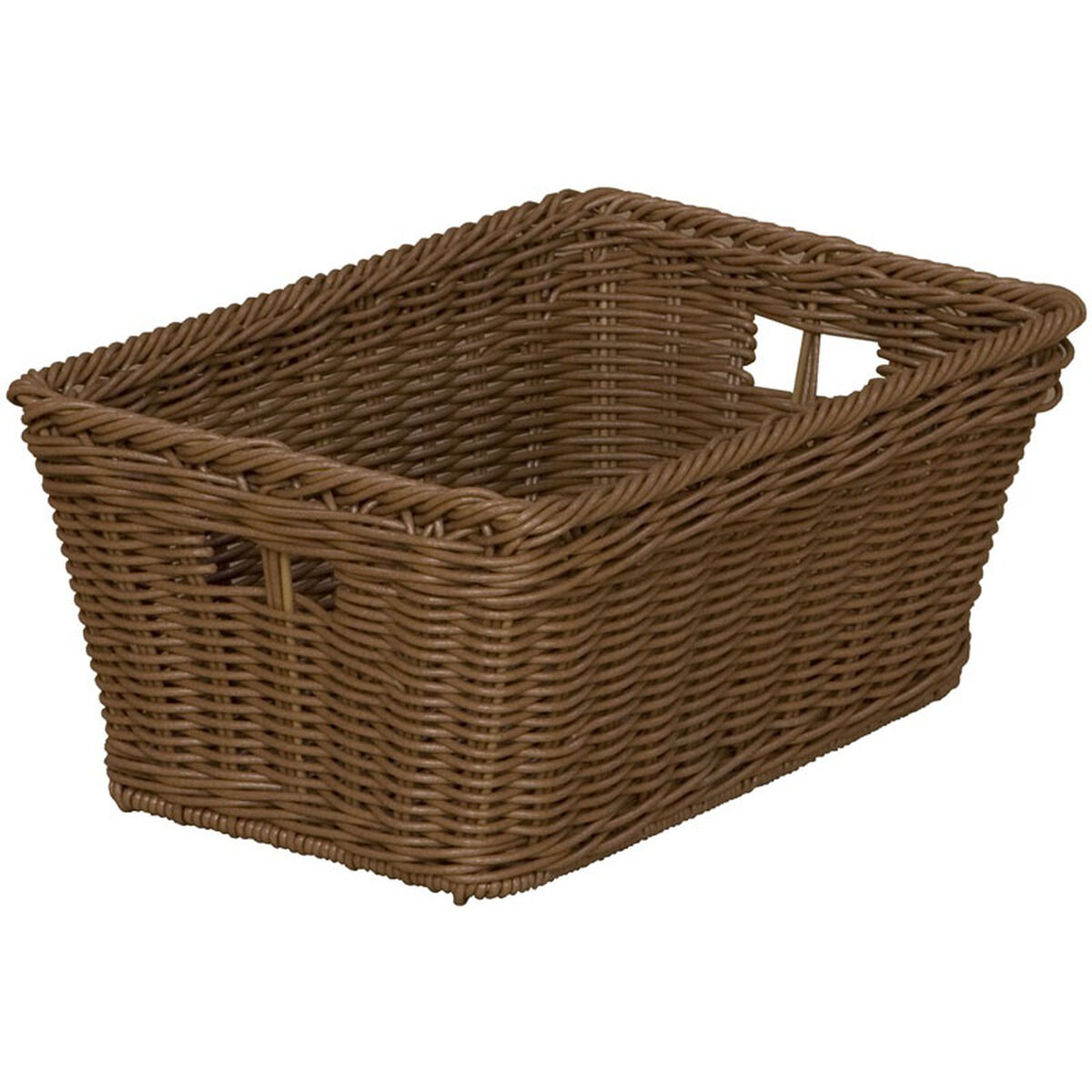 Our Wooden Versatile Mobile Storage Unit With 10 Plastic Wicker Baskets 48 W