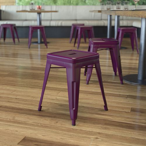 """18"""" Table Height Stool, Stackable Backless Metal Indoor Dining Stool, Commercial Grade Restaurant Stool in Purple - Set of 4"""