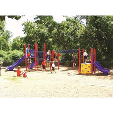 Galvanized Steel Tube Constructed Alicia Mega Series Play Center with Thermoplastic Coated Punch Steel Decks - 324